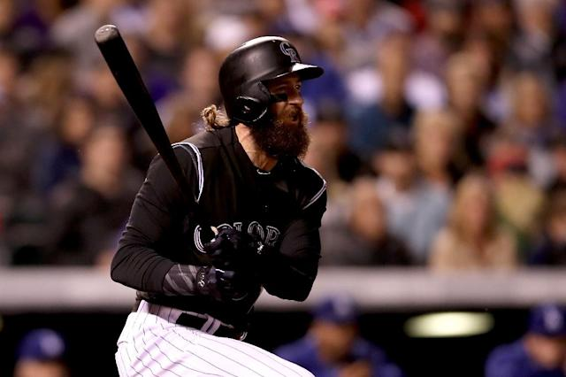 Charlie Blackmon of the Colorado Rockies hits a RBI single in the fifth inning against the Los Angeles Dodgers, at Coors Field in Denver, Colorado, on September 29, 2017 (AFP Photo/MATTHEW STOCKMAN)