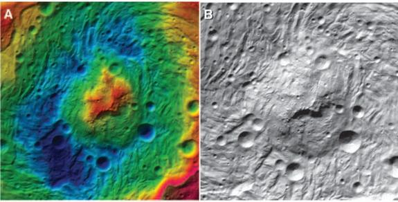 Cross sections of the central peak of Vesta's huge Rheasilvia impact basin, which measures 314 miles across. (A) shows color-contoured topography, while (B) is an orthorectified image mosaic.