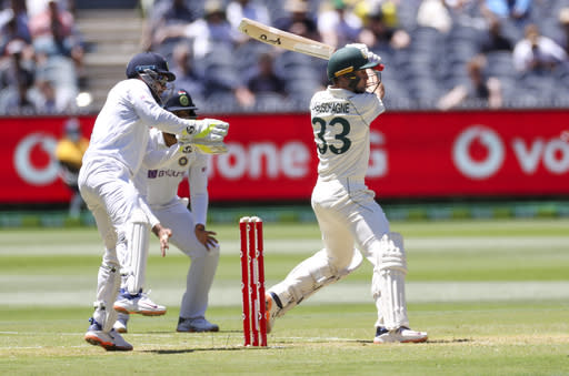 Australia's Marnus Labuschagne bats during play on day one of the Boxing Day cricket test between India and Australia at the Melbourne Cricket Ground, in Melbourne, Australia, Saturday, Dec. 26, 2020. (AP Photo/Asanka Brendon Ratnayake)