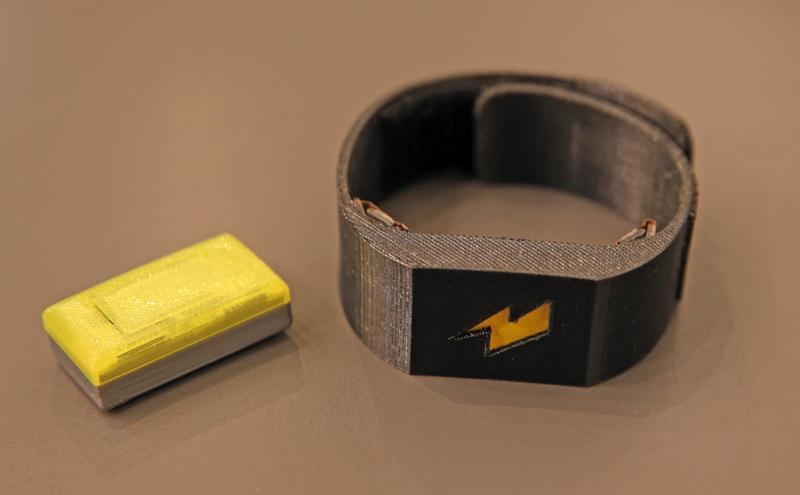 BOSTON - OCTOBER 14: The ultimate cure for procrastination--a wearable device that zaps you with an electric shock to keep you focused on your work. Maneesh Sethi's new company Pavlok makes a wristband that hits the user with an electric shock to remind him of appointments or fight off procrastination. (Photo by David L. Ryan/The Boston Globe via Getty Images)