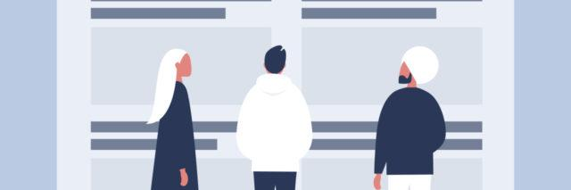 illustration of 3 people looking at some structure in awe