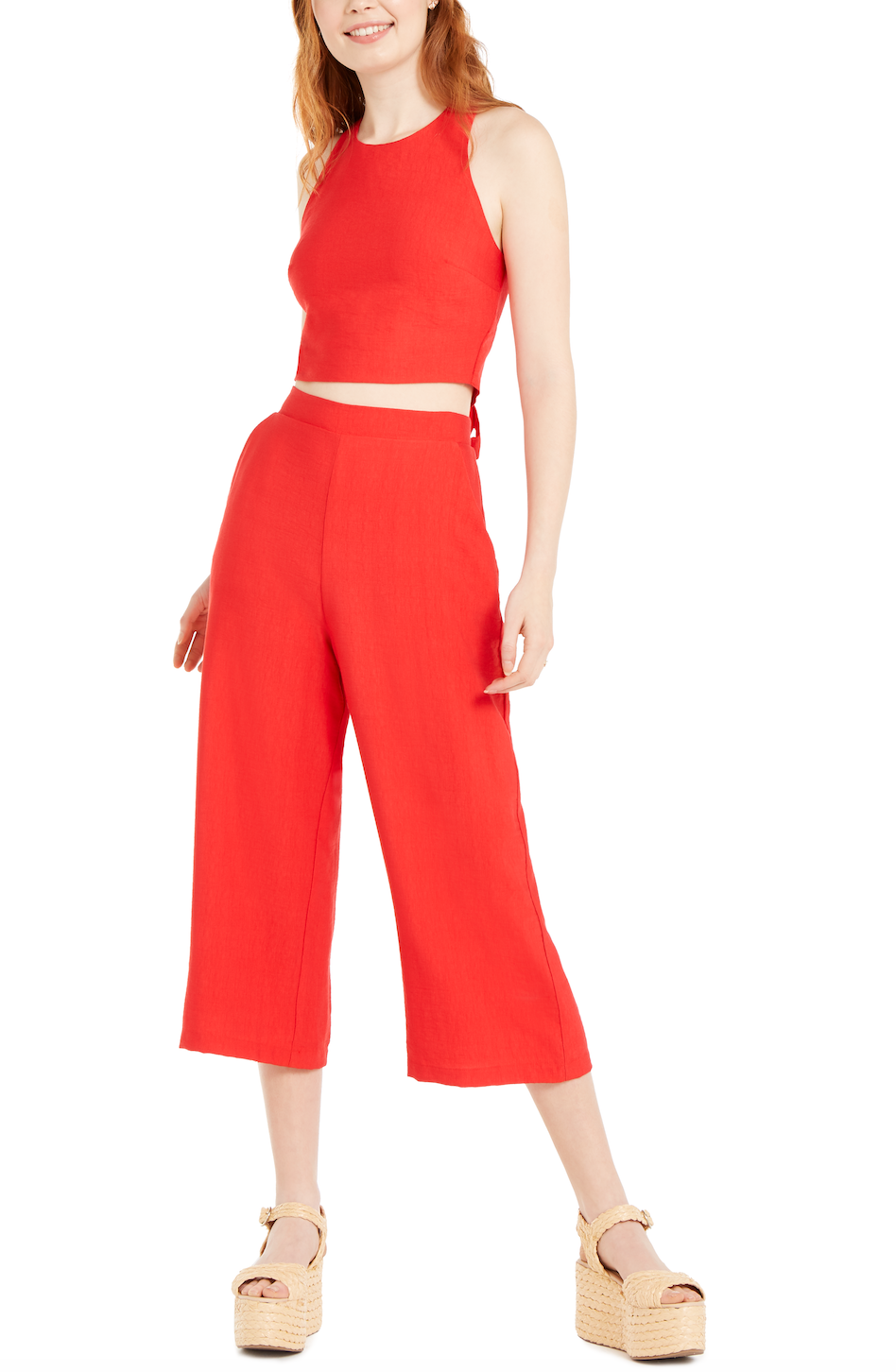 Description: JUNIORS' 2 PIECE BOW-BACK CROP TOP AND PANTS, Price: $24.84, Availability: Macy's stores and macys.com