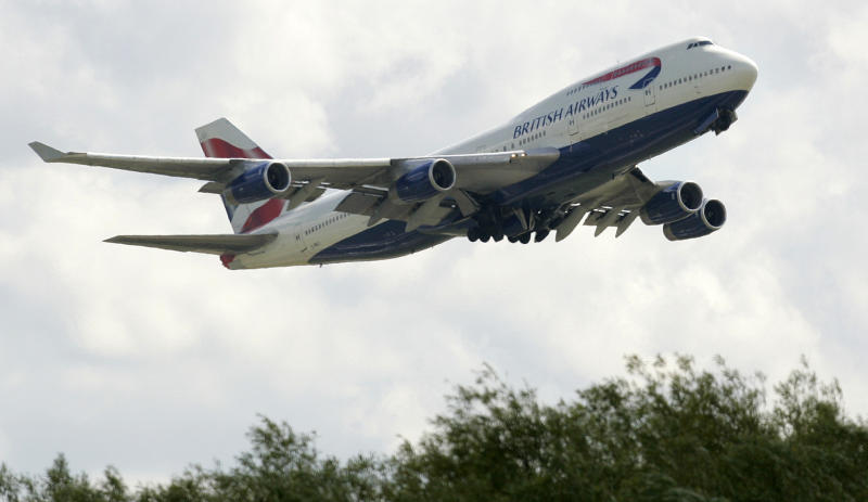 A British Airways Boeing 747 takes off from London Heathrow Airport, Friday Aug. 15, 2008. (AP Photo/Alastair Grant)
