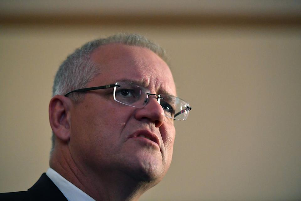 Prime Minister Scott Morrison at  Launceston Town Hall on Tuesday ahead of the federal election.