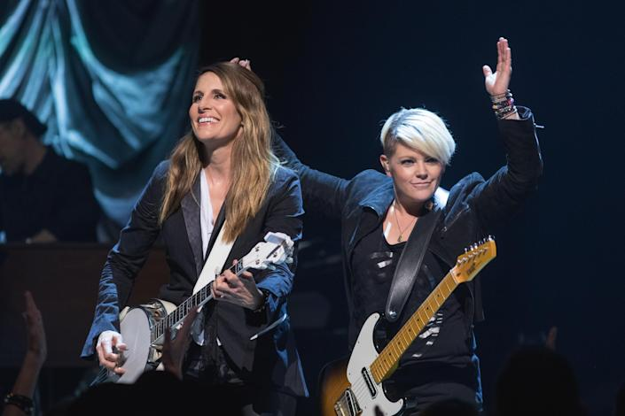 Emily Strayer and Natalie Maines of the Chicks (pictured in 2018) are speaking out about changing their band name, and the controversy that has ensued. (Photo: Rick Kern/WireImage)