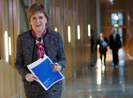 Scotland's First Minister Nicola Sturgeon arrives to deliver a statement on Brexit during a session of Scotland's Parliament at Holyrood in Edinburgh