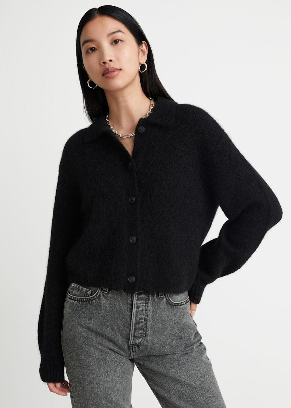 <p>This <span>&amp; Other Stories Collared Alpaca Blend Cardigan</span> ($89) comes in a few colors, but we love the black. The alpaca blend is super cozy, so it'll be a fall staple.</p>