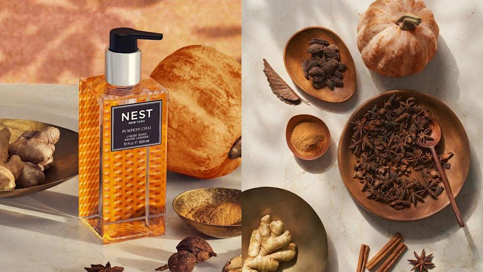 Turn washing your hands into a treat with the Nest Pumpkin Chai hand soap.