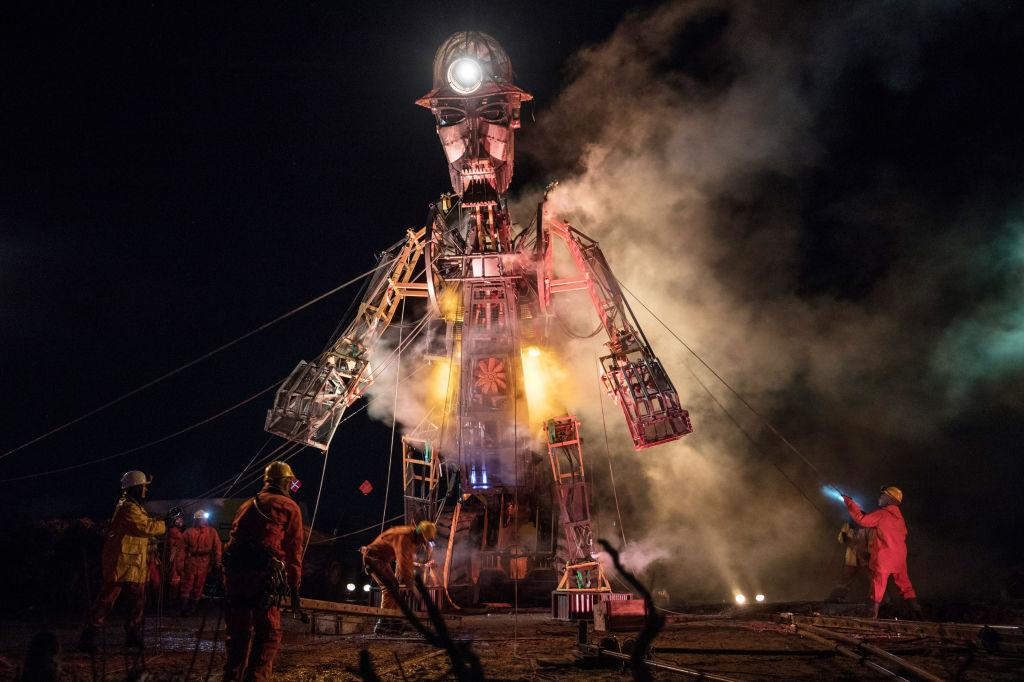 <p>The Man Engine, the largest mechanical puppet ever constructed in the UK, is unveiled during a final dress rehearsal of the 'Afterdarker' ceremony ahead of the start of his Resurrection Tour in Cornwall, England. Last seen in 2016, to mark the 10th anniversary of the Cornwall and West Devon Mining Landscape being added to the UNESCO list of World Heritage Sites, the 11.2-metre-tall puppet will start his tour at the Cornish Mining World Heritage Site landscape on Saturday, before travelling to other iconic industrial heritage sites in Cornwall, Devon, Somerset, making various stops in South Wales before heading for Shropshire, Yorkshire and Durham. Photo from Matt Cardy/Getty Images. </p>