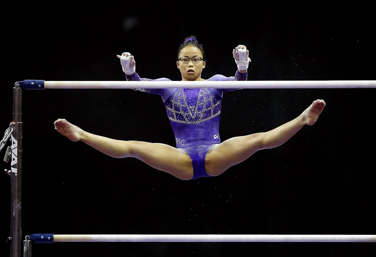 <p>An internationally competitive routine at the senior level requires five types of elements: flight elements between the two bars, a flight element on the same bar, a non-flight element with a turn on the bar, a minimum of two different kinds of grips, and a dismount. Each skill is then given the appropriate number of points, depending on its level of difficulty, and if it was correctly executed, the execution score is added on top of that for a final total.</p>