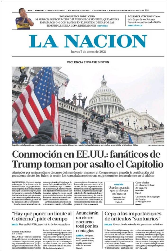 Front page of Argentina's La Nacion on Thursday