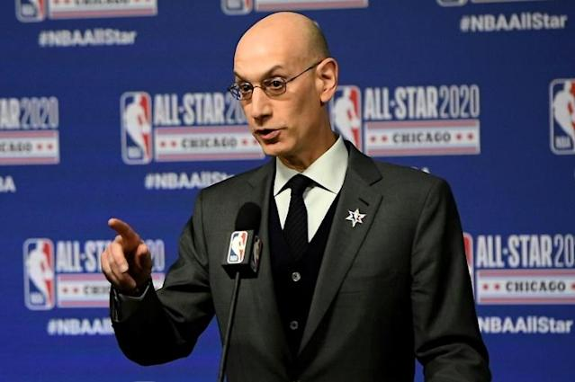 NBA commissioner Adam Silver says there are no risk-free options to resuming games during the coronavirus pandemic but the NBA's bubble plan is the safest way to make it happen (AFP Photo/Stacy Revere)