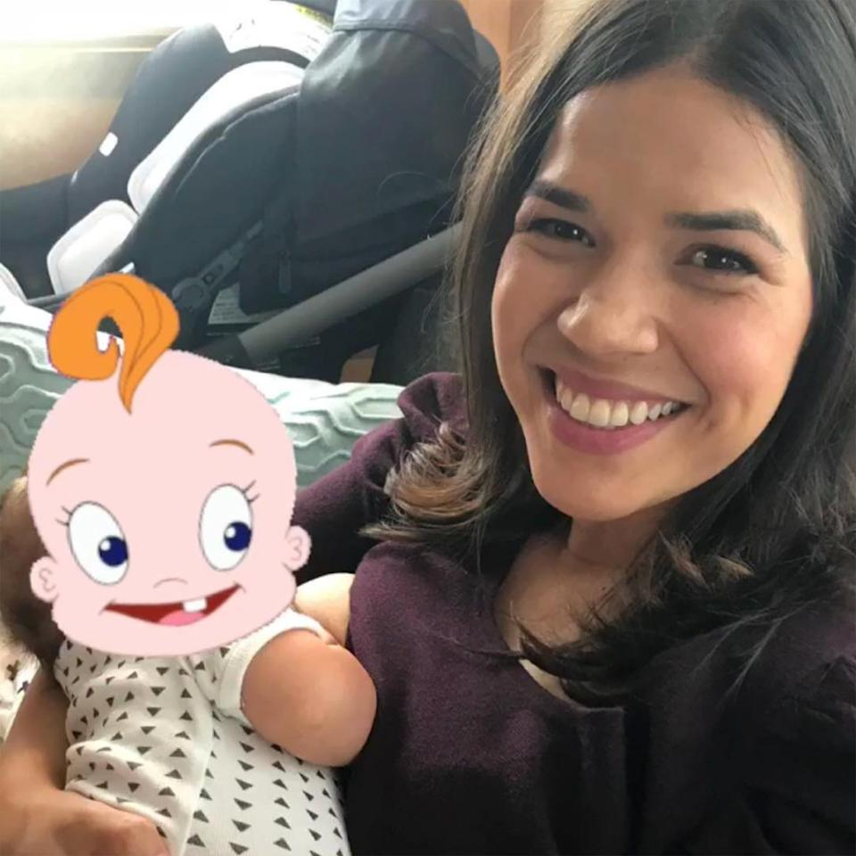 "Alongside her National Breastfeeding Week photo, <a href=""https://people.com/babies/america-ferrera-shares-breastfeeding-photo/"">America Ferrera wrote</a>, ""They're my boobies, and I'll feed where I want to- feed where I want to - feeeeed where I want to..."" while keeping her then-3-month-old son Sebastian's face covered with a silly sticker."