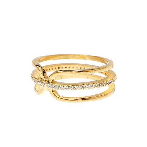 14K Gold Vermeil CZ Accented 3 Row Band Ring (Credit: Nordstrom Rack)