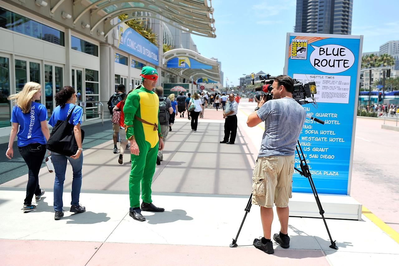 SAN DIEGO, CA - JULY 11:  San Diego prepares for 2012 Comic-Con at the San Diego Convention Center on July 11, 2012 in San Diego, California.  (Photo by Jerod Harris/Getty Images)