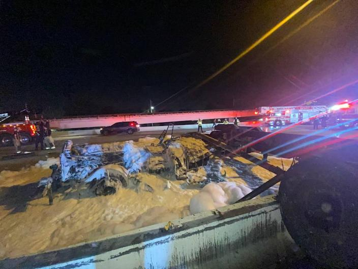 A crash involving a Florida rapper and a tractor trailer that caught fire shut has shut down a section of State Road 112 during Thursday's morning rush hour.