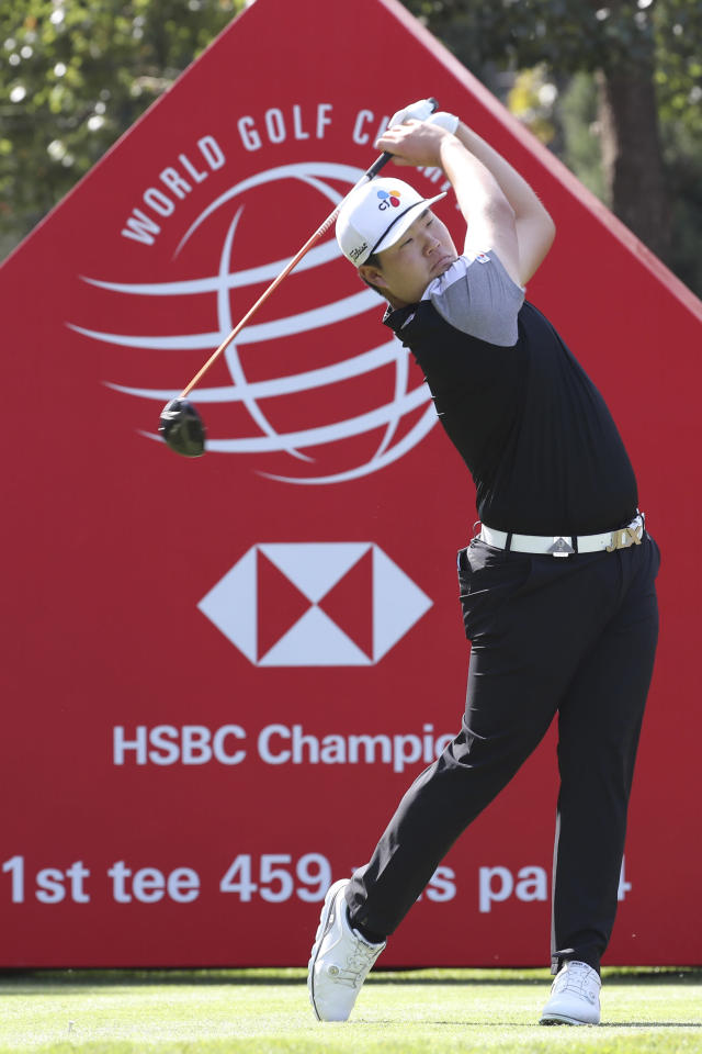 Sungjae Im of South Korea tees off during the HSBC Champions golf tournament at the Sheshan International Golf Club in Shanghai Friday, Nov. 1, 2019. (AP Photo/Ng Han Guan)
