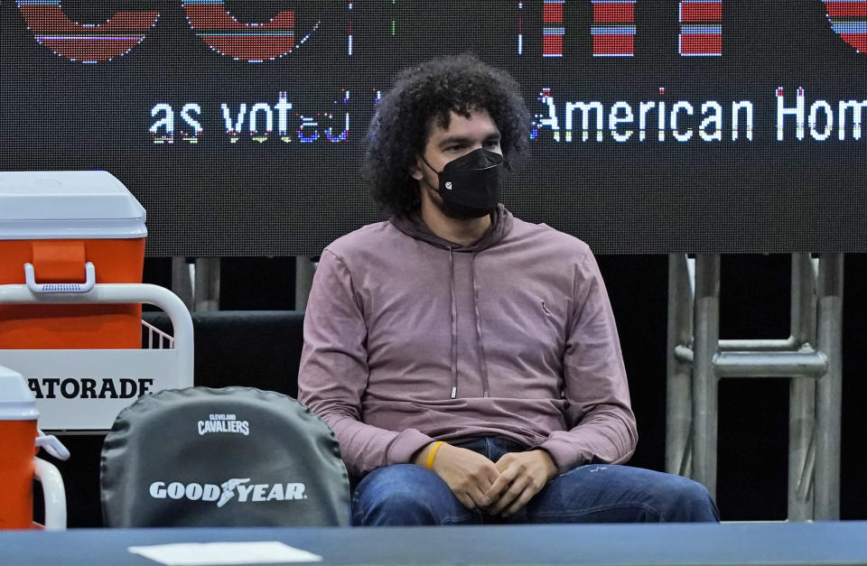 Cleveland Cavaliers' Anderson Varejao watches in the second half of an NBA basketball game against the Phoenix Suns, Tuesday, May 4, 2021, in Cleveland. Phoenix won 134-118 in overtime. (AP Photo/Tony Dejak)