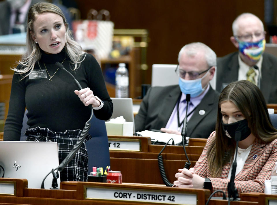 Rep. Emily O'Brian, R-Grand Forks, describes her encounters with Rep. Luke Simons, R-Dickinson, during the debate of a resolution to expel Simons from the state Legislature on 3-4-2021 at the state Capitol in Bismarck, North Dakota, Thursday, Mach 4, 2021. Simons was expelled by a 69-25 vote by the House members. (Mike McCleary/The Bismarck Tribune via AP)