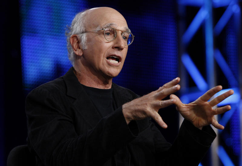 """FILE - In this July 30, 2009 file photo, creator and executive producer Larry David speaks during the HBO panel for """"Curb Your Enthusiasm"""" at the Television Critics Association summer press tour in Pasadena, Calif. HBO told the Television Critics Association on Wednesday, August 1, 2012 that the 65-year-old writer-actor will star and executive produce an untitled HBO film to be directed by Greg Mottola. (AP Photo/Matt Sayles, File)"""