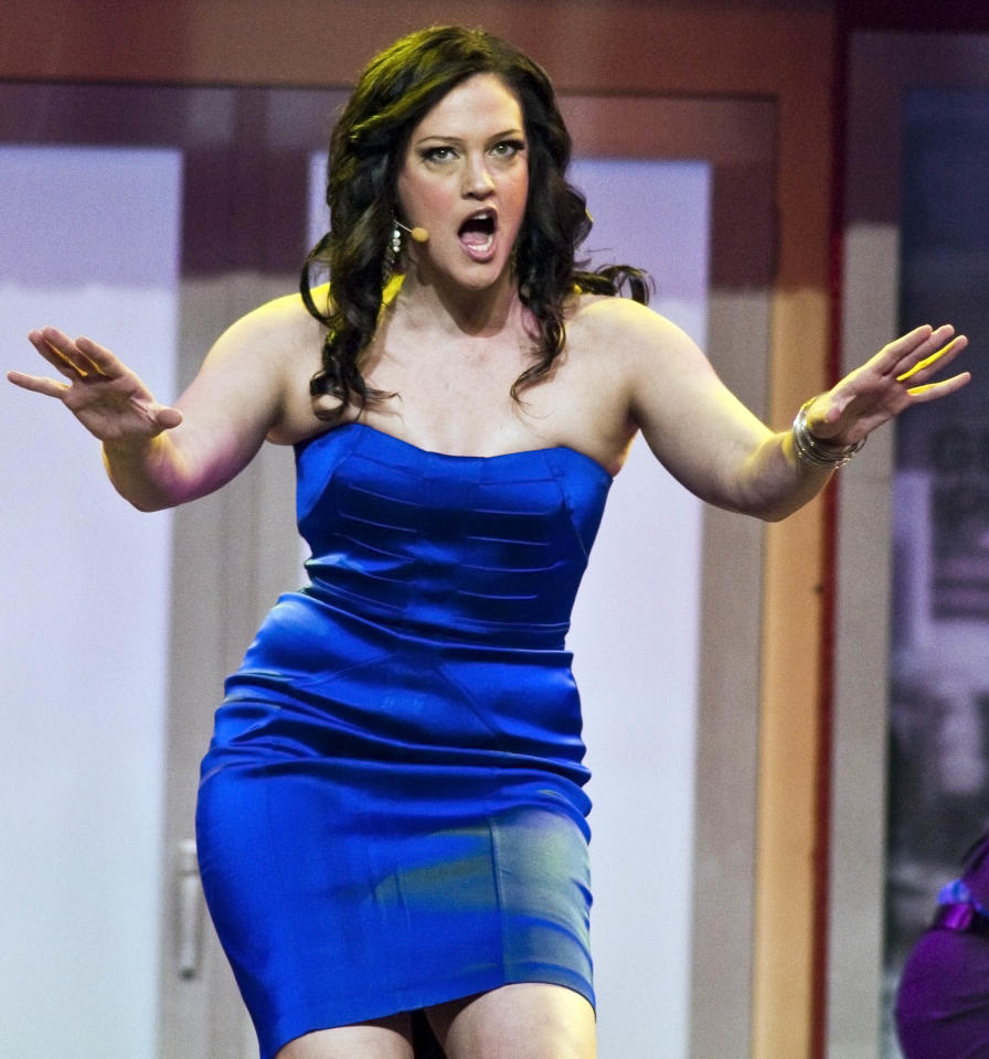 Broadway star Victoria Matlock performs during the Walmart Stores Inc. shareholders' meeting in Fayetteville, Ark., Friday, June 1, 2012. Wal-Mart Stores Inc. CEO Mike Duke said Friday that the retailer is committed to integrity in the wake of recent bribery allegations in Mexico. (AP Photo/April L. Brown)