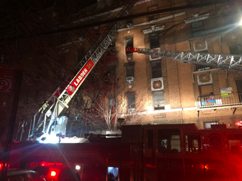 Firefighters responded toa massive blazeat a Bronx apartment building in which at least12 people had died late Thursday. (Fire Department of New York)