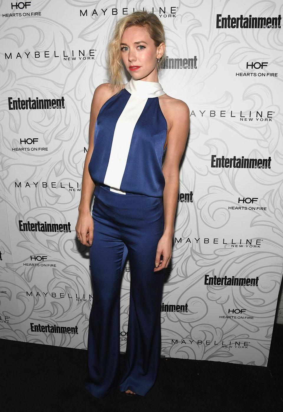 <p>In a Galvan London jumpsuit for the Entertainment Weekly Pre-SAG Awards Ceremony.</p>