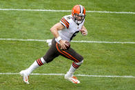 Cleveland Browns quarterback Baker Mayfield (6) scrambles out of the pocket during the first half of an NFL football game against the Pittsburgh Steelers in Pittsburgh, Sunday, Oct. 18, 2020. (AP Photo/Gene J. Puskar)