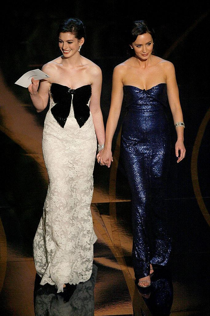 <p>The two assistants from <i>The Devil Wears Prada</i> shut it down in Valentino and Calvin Klein, respectively. (Photo: Getty Images) </p>