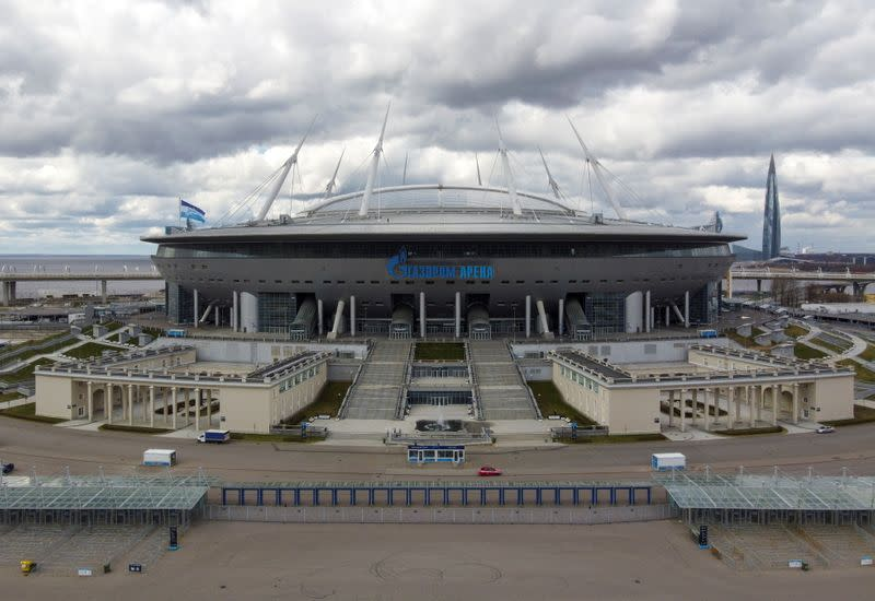 A view shows the Gazprom Arena soccer stadium, one of the host venues for the Euro 2020 tournament, in Saint Petersburg