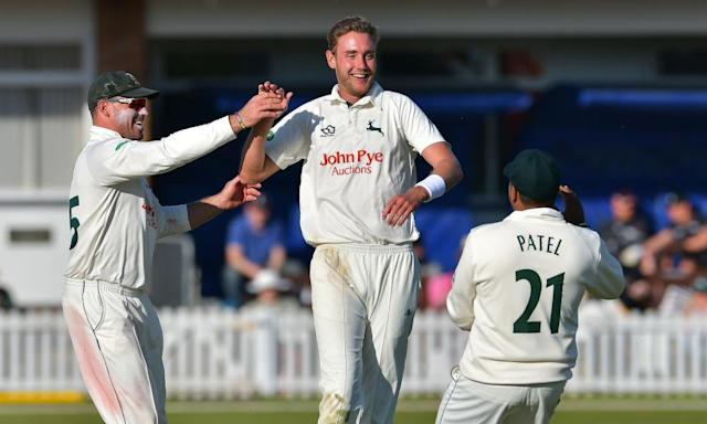 "<span class=""element-image__caption"">Stuart Broad, centre, enjoyed taking wickets in Nottinghamshire's opening game against Leicestershire but has not been permitted to play for his county at Durham this weekend.</span> <span class=""element-image__credit"">Photograph: ProSports/Rex/Shutterstock</span>"