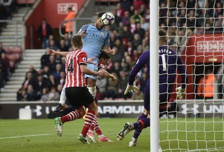 Britain Soccer Football - Southampton v Manchester City - Premier League - St Mary's Stadium - 15/4/17 Manchester City's Sergio Aguero scores their third goal Action Images via Reuters / Tony O'Brien Livepic
