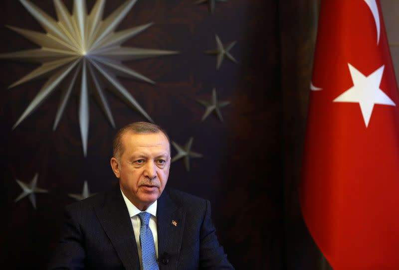 Turkish President Erdogan attends a videoconference with G20 leaders to discuss the coronavirus disease outbreak
