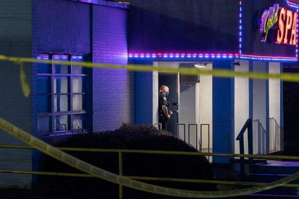 PHOTO: A police officer stands outside a spa on March 16, 2021, in Atlanta. (Elijah Nouvelage/AFP via Getty Images)