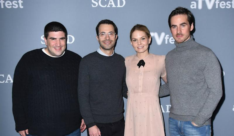 Once upon a Time co-creators and executive producers Adam Horowitz and Edward Kitsis and actors Jennifer Morrison and Colin O'Donoghue at an event.