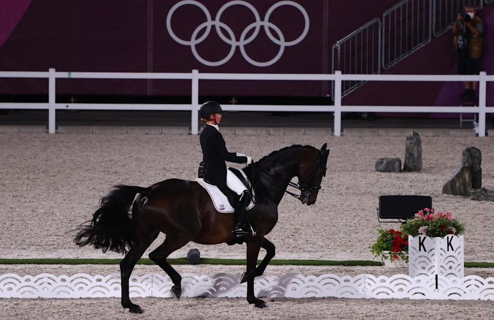 Jessica von Bredow-Werndl of Germany on her horse TSF Dalera on their way together to the gold medal.