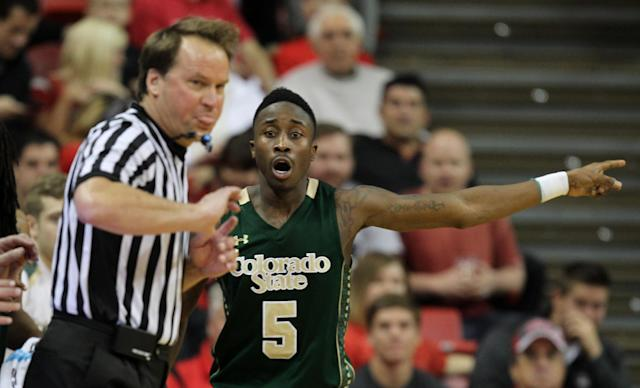 Colorado State's Jon Octeus reacts to a call during the second half of an NCAA college basketball game against UNLV on Wednesday, Feb. 26, 2014, in Las Vegas. UNLV defeated Colorado State 78-70. (AP Photo/Isaac Brekken)