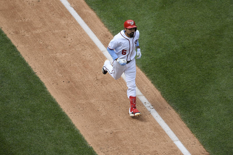 Washington Nationals' Anthony Rendon heads home after he hit a two-run home run during the sixth inning of a baseball game against the Arizona Diamondbacks, Sunday, June 16, 2019, in Washington. (AP Photo/Nick Wass)