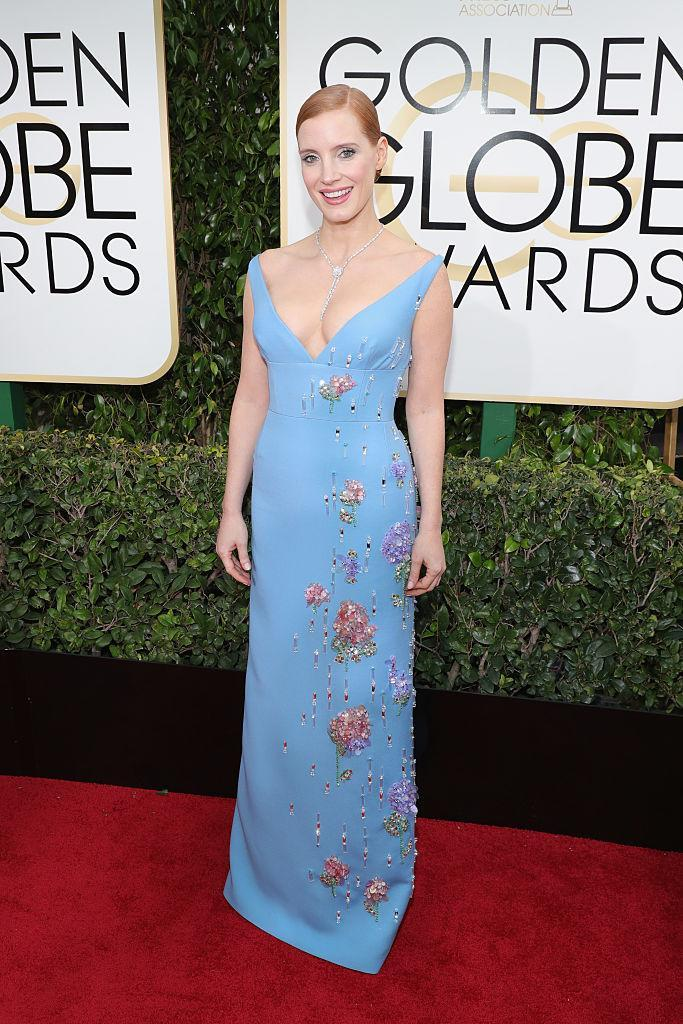 Jessica Chastain in Prada. (Photo: Getty Images)