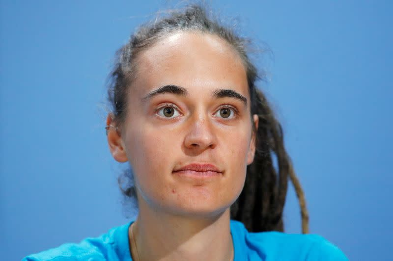 FILE PHOTO: German captain of rescue ship Sea Watch 3 Carola Rackete attends a news conference to introduce her book