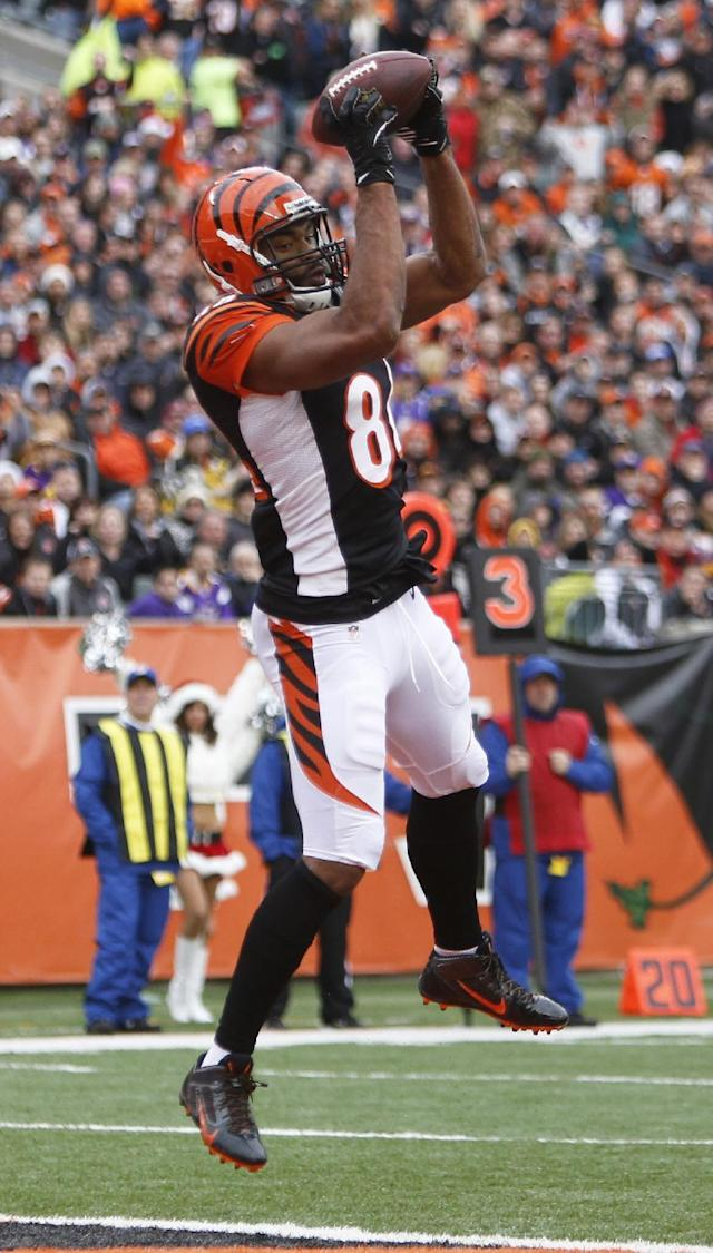 Cincinnati Bengals tight end Jermaine Gresham catches a 16-yard touchdown pass against the Minnesota Vikings during the first half of an NFL football game, Sunday, Dec. 22, 2013, in Cincinnati. (AP Photo/David Kohl)