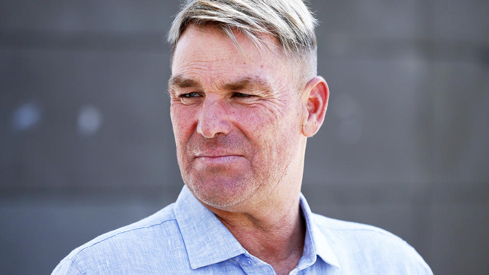 Shane Warne, pictured here speaking to the media in Melbourne in 2020.