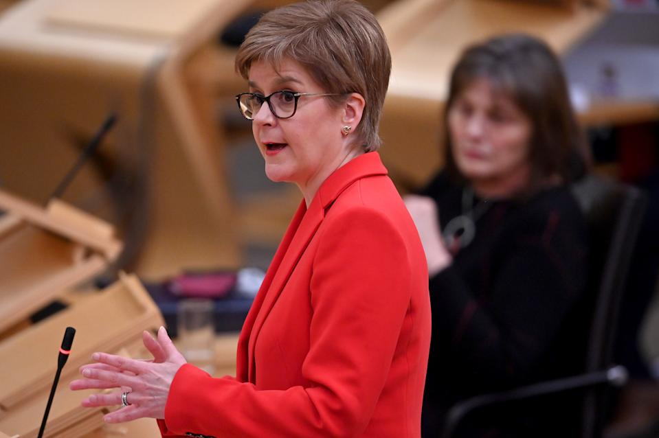 First Minister Nicola Sturgeon gives a COVID-19 update in the Scottish Parliament at the Scottish Parliament in Holyrood, Edinburgh.