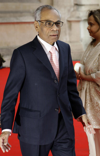 FILE - In this Thursday, April 15, 2010 file photo, Srichand Hinduja arrives for the private viewing of the exhibition 'Grace Kelly: Style Icon', at the Victoria & Albert Museum in London. A new study of the super-rich finds that London has become the capital of the world's wealthiest, with more billionaires than any other city in the world. Indian-born brothers Srichand and Gopichand Hinduja top the list, with a 11.9-billion pound fortune. The two run the Hinduja Group conglomerate. (AP Photo/Joel Ryan, File)