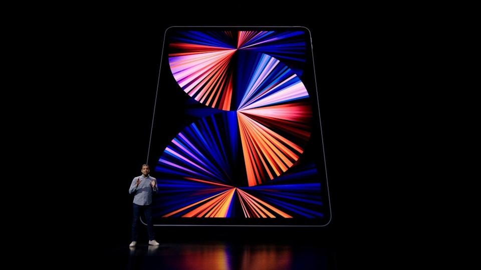Apple's Raja Bose introduces the new iPad Pro, in this still image from the keynote video of a special event at Apple Park in Cupertino, California, released on Tuesday. Photo: Apple Inc./Handout via Reuters