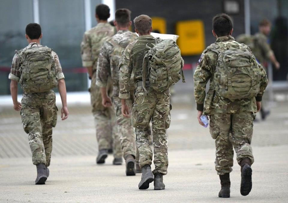 A member of the British armed forces following their return from helping in operations to evacuate people from Kabul airport (PA)