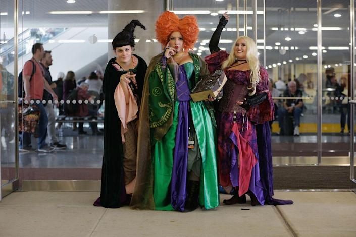 """<p>You'll put a spell on everyone if you and your girls dress up as the Sanderson Sisters from <em>Hocus Pocus</em>. </p><p><a class=""""link rapid-noclick-resp"""" href=""""https://www.amazon.com/Spirit-Halloween-Winifred-Wig-Deluxe/dp/B0728DQ8YD?tag=syn-yahoo-20&ascsubtag=%5Bartid%7C10070.g.3083%5Bsrc%7Cyahoo-us"""" rel=""""nofollow noopener"""" target=""""_blank"""" data-ylk=""""slk:SHOP WINIFRED WIG"""">SHOP WINIFRED WIG</a></p>"""