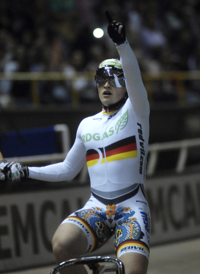 CALI, COLOMBIA - DECEMBER 3: Robert Forstemann from Team Erdgas, celebrates after won the golden medal in thel men's sprint race as part of the UCI Track World Cup at the Alcides Nieto Patino velodrome on December 3, 2011 in Cali, Colombia. (Photo by Luis Ramirez/LatinContent/Getty Images)