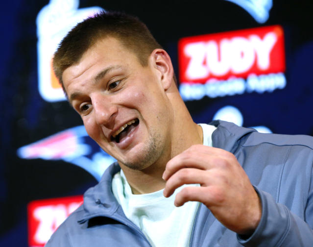 "New England's <a class=""link rapid-noclick-resp"" href=""/nfl/players/24017/"" data-ylk=""slk:Rob Gronkowski"">Rob Gronkowski</a> had five catches for 82 yards and two TDs on Sunday against Miami. (AP)"