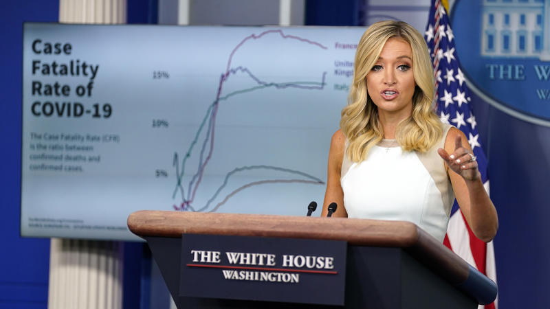 White House press secretary Kayleigh McEnany speaks during a press briefing at the White House on Monday. (AP Photo/Evan Vucci)